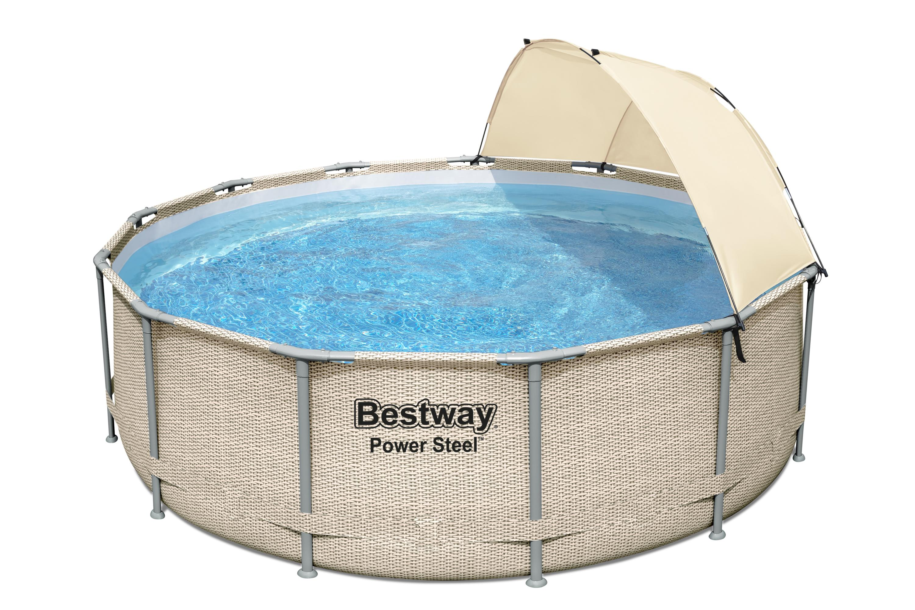 Piscine Power Steel™ décor rotin et auvent